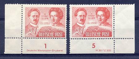 SBZ Allg.A. MiNr. 229 ** DV und DZ 30.Tdt.K.Liebknecht/Rosa Luxemburg