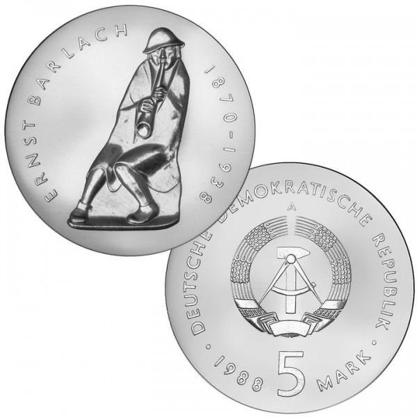 DDR Münze 1988, 5 M, st 50. Todestag Ernst Barlach
