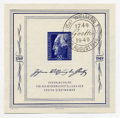 SBZ Allg.A. MiNr. 239 o Bl. 6 200. Geb. J.W.v.Goethe