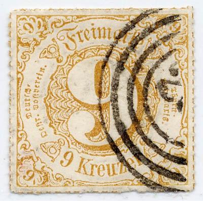 Thurn & Taxis MiNr. 54I o 9 Kr.,ockerbraun durchstochen