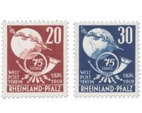 Franz.Zone Rh./Pf. MiNr. 51/52 ** 75 Jahre Weltpostverein