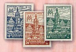 SBZ West-Sa. MiNr.162/64 AZ ** Leipziger Messe 1946 Spargummi