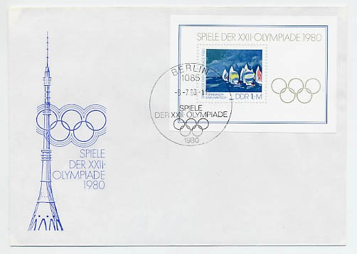 DDR FDC Bl. 60 MiNr. 2531 Olympische Sommerspiele Moskau 1980