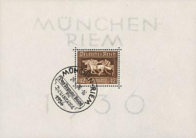 """Dt. Reich Bl. 4 MiNr. 621 o 3. Rennen um """"Das Braune Band"""" 1936"""