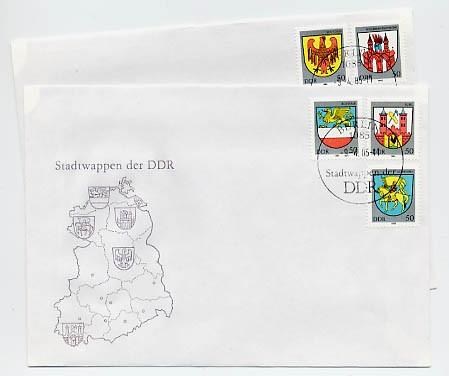 DDR FDC MiNr. 2934/38 Stadtwappen III