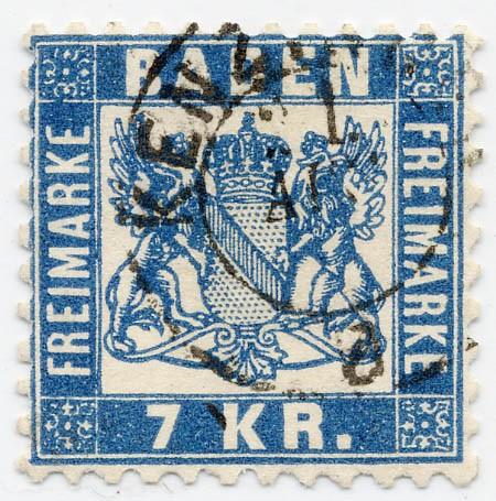 Baden MiNr. 25a o 7 Kreuzer / blau / Währung -gek.