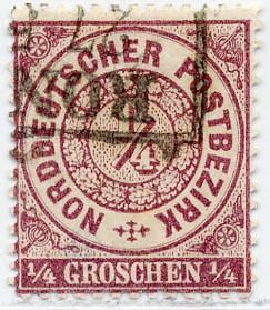 Norddeutscher Postbezirk MiNr. 13a o 1/4 Groschen / rotviolett