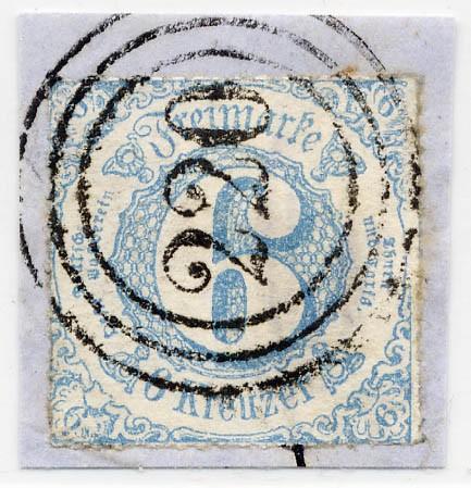 Thurn & Taxis MiNr. 43IB o 6 Kr., blau, durchstochen