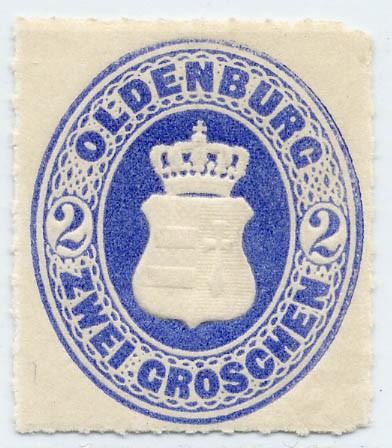 Oldenburg MiNr. 18B ** 2 Groschen ultramarin