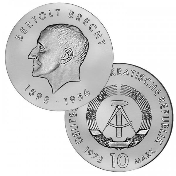 DDR Münze 1973, 10 M, st 75. Geburtstag Bertolt Brecht