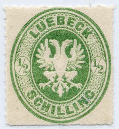 Lübeck MiNr. 8A * 1/2 Schilling o.Wz. Dst. 12