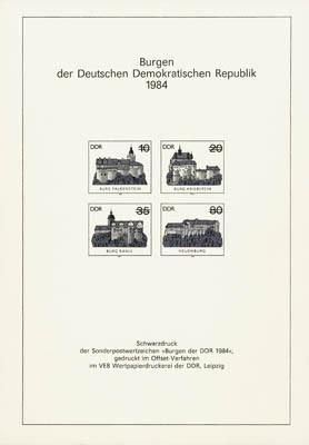 DDR Schwarzdruck MiNr. 2910/13 S (*) Burgen der DDR 1984 (aus JB 1984)