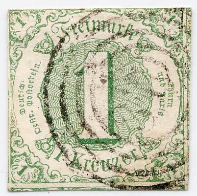 Thurn & Taxis MiNr. 20 o 1 Kr., bläulichgrün, geschnitten