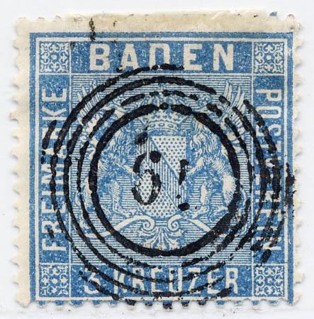 Baden MiNr. 10b o 3 Kreuzer / ultramarin / Wappen-gez.