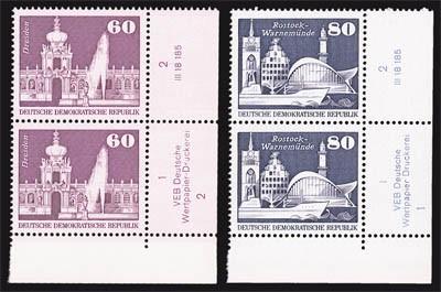 DDR MiNr. 1919/20 ** Eckrandst. mit DV Freimarken: Aufbau in der DDR