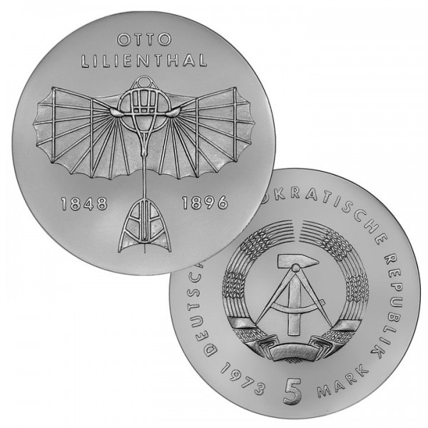 DDR Münze 1973, 5 M, st 125. Geburtstag Otto Lilienthal