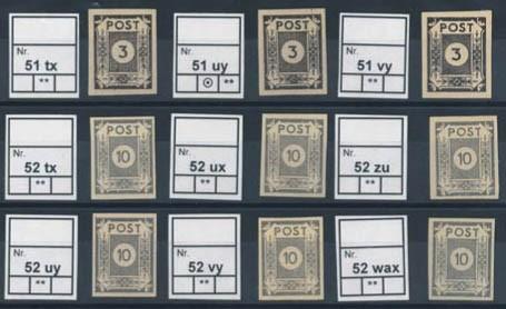 SBZ Ost-Sa. Mi.Nr. 51/52 ** Papiersorten-Kollektion ( 9 Sorten )