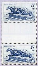 Saarland MiNr. 265/66 ZS ** Tag des Pferdes, Zwischenstegpaar