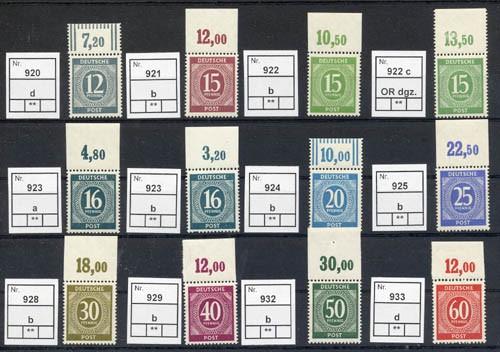 All.Bes.GA 24 Werte Farbkollektion aus MiNr. 911/37 ** m. OBERRAND