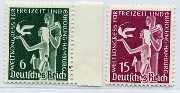 Dt. Reich MiNr. 622/23 ** Weltkongress für Freizeit u.Erholung