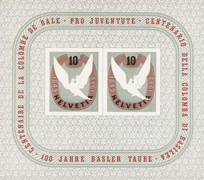 Schweiz Block 12 ** 100 J. Basler Taube