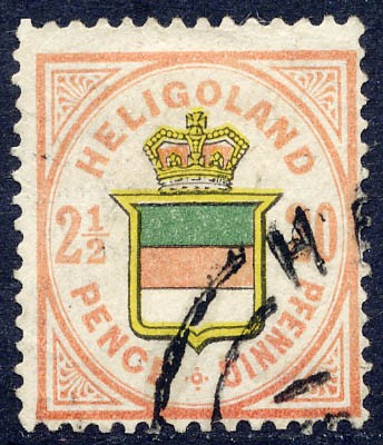 Helgoland MiNr. 18e o 20Pf/2 1/2 P rosa/h'rötl.gelb/graugrün
