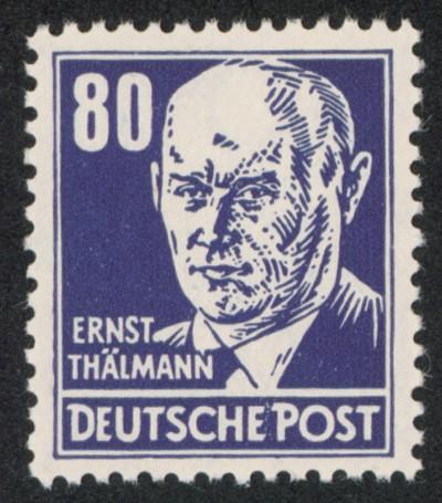 DDR MiNr. 339 va XII ** 80Pf Persönlichkeiten Thälmann
