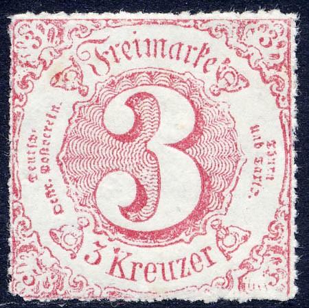 Thurn & Taxis MiNr. 42 ** 3 Kr., karminlilarot, durchstochen