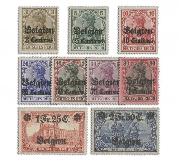 Dt. Besetzung Belgien MiNr. 1/9 ** Germania m. Aufdruck, 9 Werte