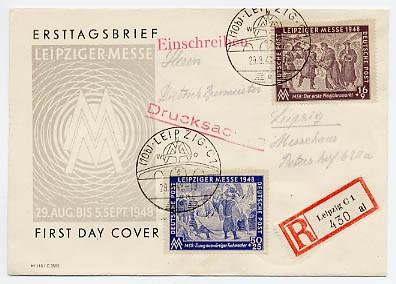 SBZ Allg.A. FDC MiNr. 198/99 Leipziger Herbstmesse 1948