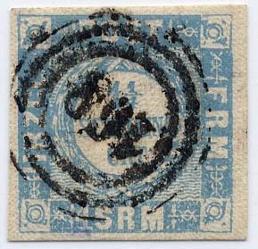 Schleswig-Holstein MiNr. 6 o 1 1/4 Sch.grauultramarin-fette Inschrift