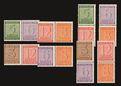 """SBZ West-Sa. Zdr.-Paare """"Ziffern II"""" ** 8 Zdr.waagerecht/senkrecht, aus MiNr. 126/37"""