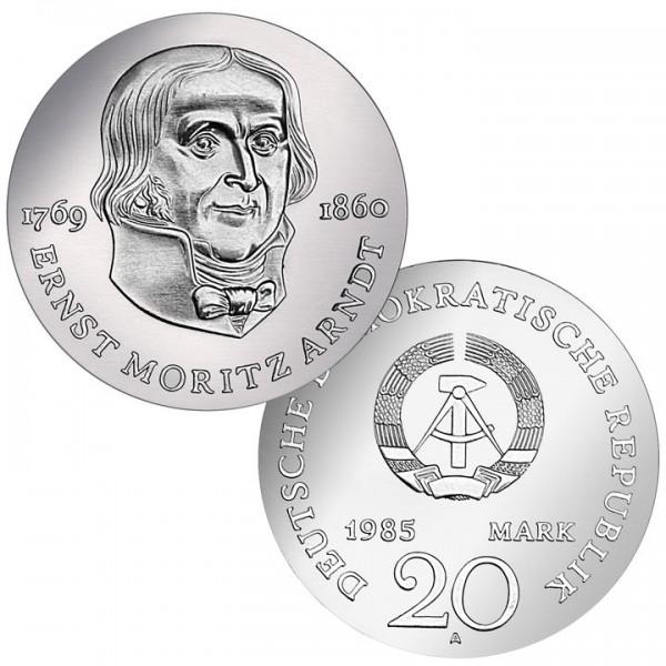 DDR Münze 1985, 20 M, st 125. Todestag Ernst Moritz Arndt