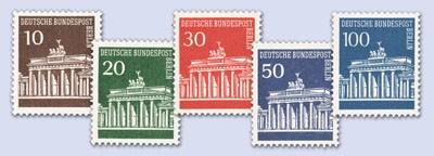 Berlin Rollenmarke MiNr. 286/90 ** FM Brandenburger Tor mit Zählnummer