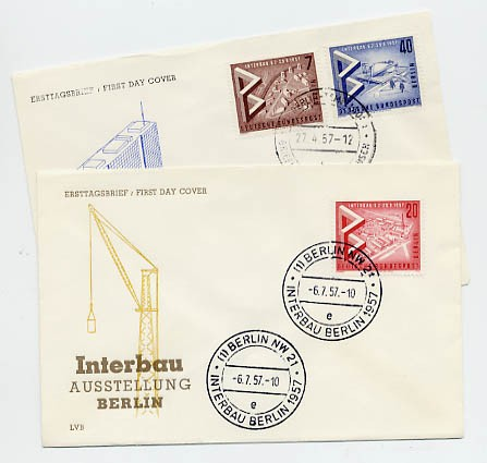 Berlin FDC Mi-Nr. 160/62 Internationale Bau-Ausstellung