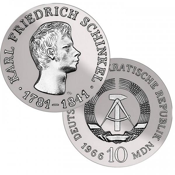 DDR Münze 1966, 10 M, st 125. Todestag Karl F. Schinkel