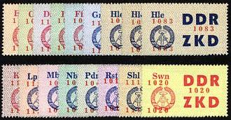 DDR Dienstmarken C MiNr. 16-30 ** Laufkontrollzettel für die VVB (17 Werte)