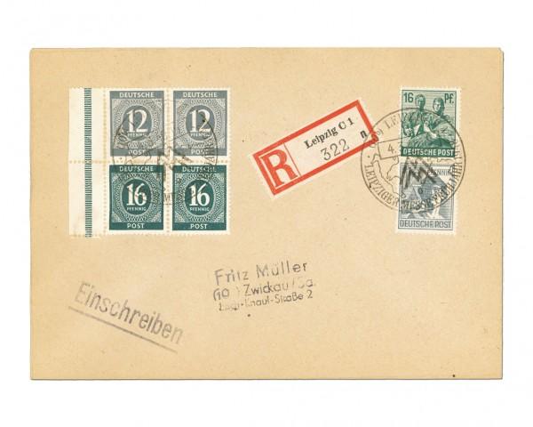 All.Bes.GA Brief mit Ziffern-Zd aus Heftchen Zd-MiNr. S294 (12Pf+16Pf) auf R-Brief