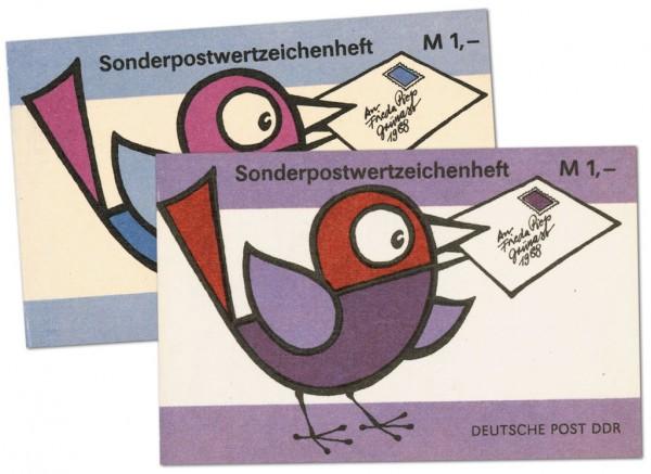 """DDR SMHD 37 ** Heftchen-Paar lila und blau """"Vogel mit Brief"""""""