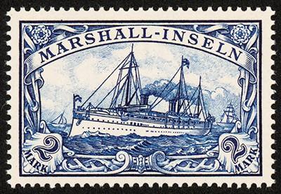 Dt. Kolonien Marshall-Inseln MiNr. 23 ** 2 M große Kaiseryacht