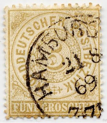 Norddeutscher Postbezirk MiNr. 18 o 5 Groschen / olivbraun