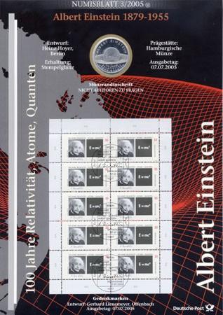 BRD Numisblatt 3/2005 100 Jahre Relativität - Atome - Quanten