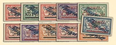Memelgebiet MiNr. 72/83 (ohne 79) ** Flugpostm. Frankreich m. Aufdruck, 11 Werte