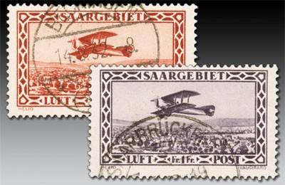Dt. Abst.Geb. Saargebiet MiNr. 126/27 o Flugpostmarken