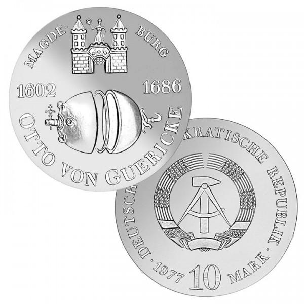 DDR Münze 1977, 10 M, st 375. Geburtstag Otto v. Guericke