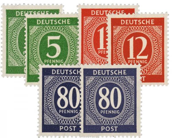 "All.Bes.GA MiNr. 915a,b + 919a,b + 935a,b,c ** Farben-Set ""Ziffern"