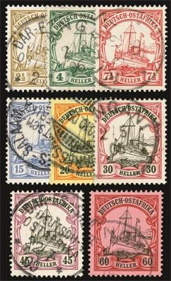 "Dt. Kolonien Ostafrika MiNr. 22/29 o ""Kaiseryacht"" (8 Werte- Nr.29 gepr.)"