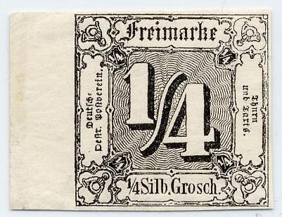 Thurn & Taxis MiNr. 26 ** 1/4 Gr., schwarz, geschnitten