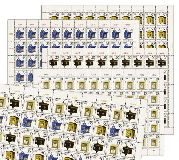 DDR Bogenkollektion MiNr. 2924/27 ** Hist. Briefkästen, 5 Bogen inkl. Sammelblätter