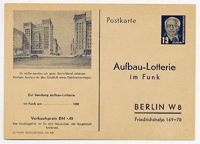 DDR FP 1** 12 Pf (65 Pf.- VK) Funklotterie-Postkarte